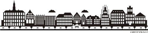 INDIGOS UG - WANDTATTOO / Wandsticker / Wandaufkleber / Aufkleber e780 Skyline Stadt - Greifswald (Deutschland) Design 2 - 120x27 cm - schwarz - 2