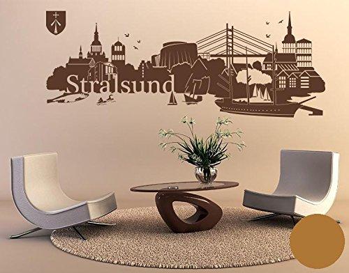 Klebefieber Wandtattoo Skyline Stralsund B x H: 180cm x 68cm Farbe: Hellbraun